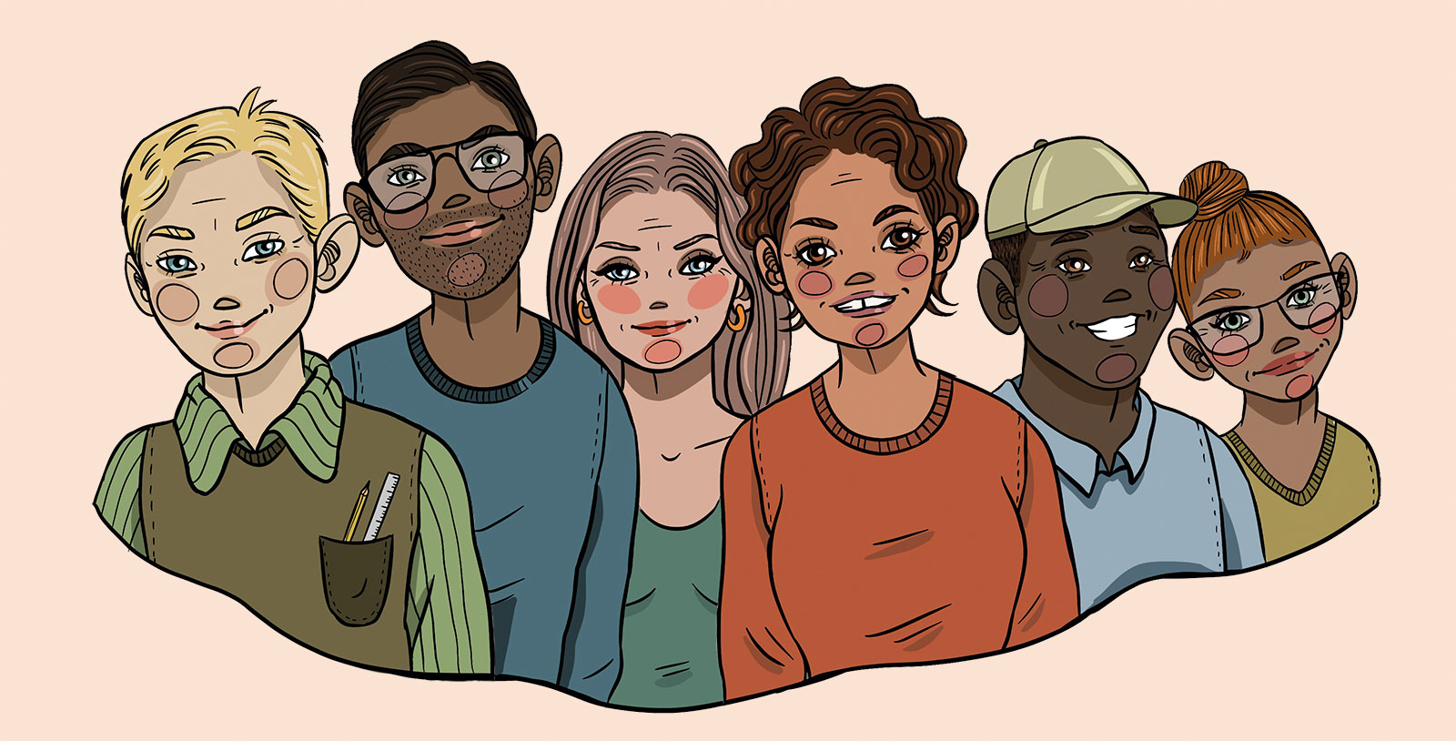 Tegning af 5 mænd og kvinder som arbejder i UngAalborg som smiler