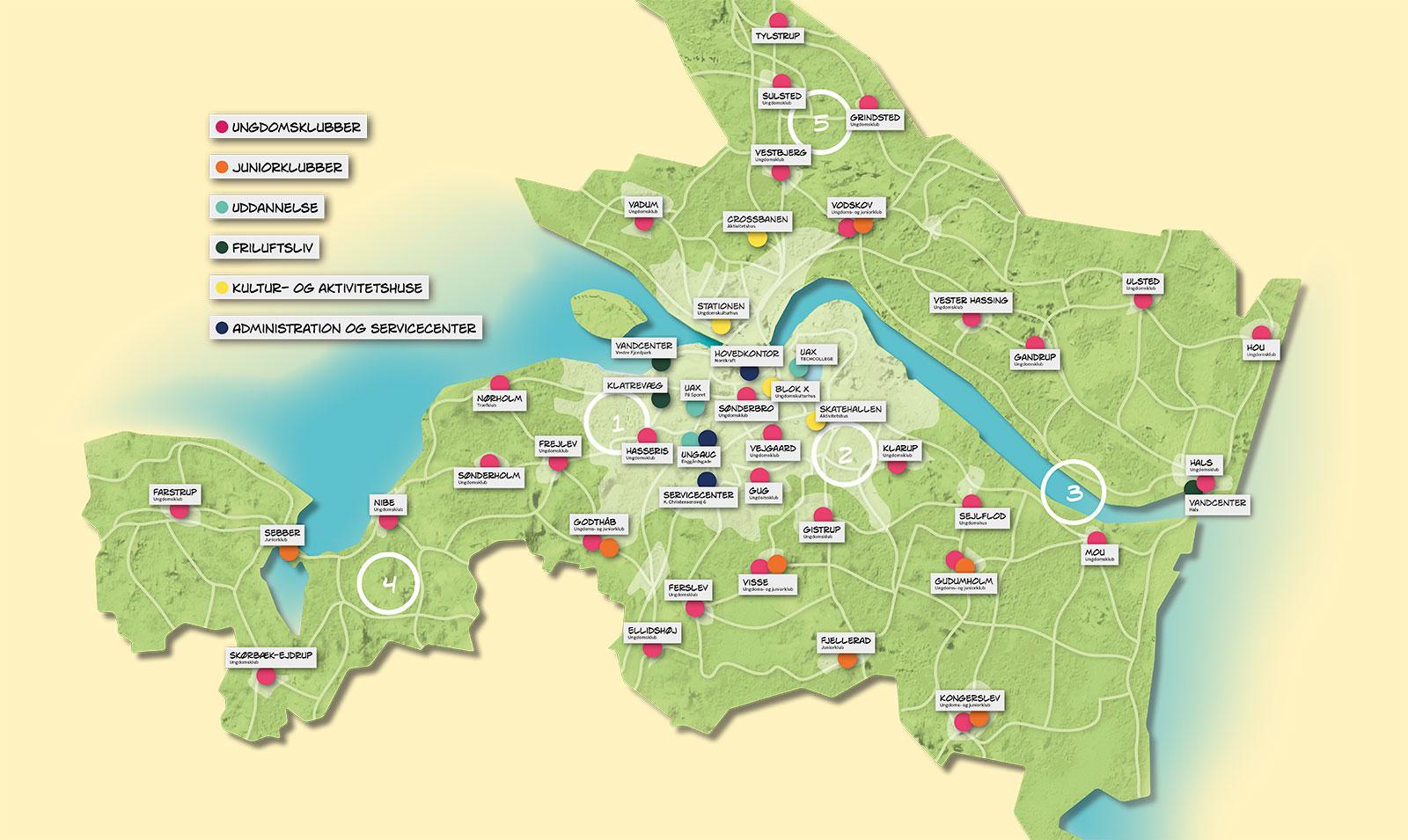 Kort over Aalborg Kommune med alle klubber og steder i UngAalborg