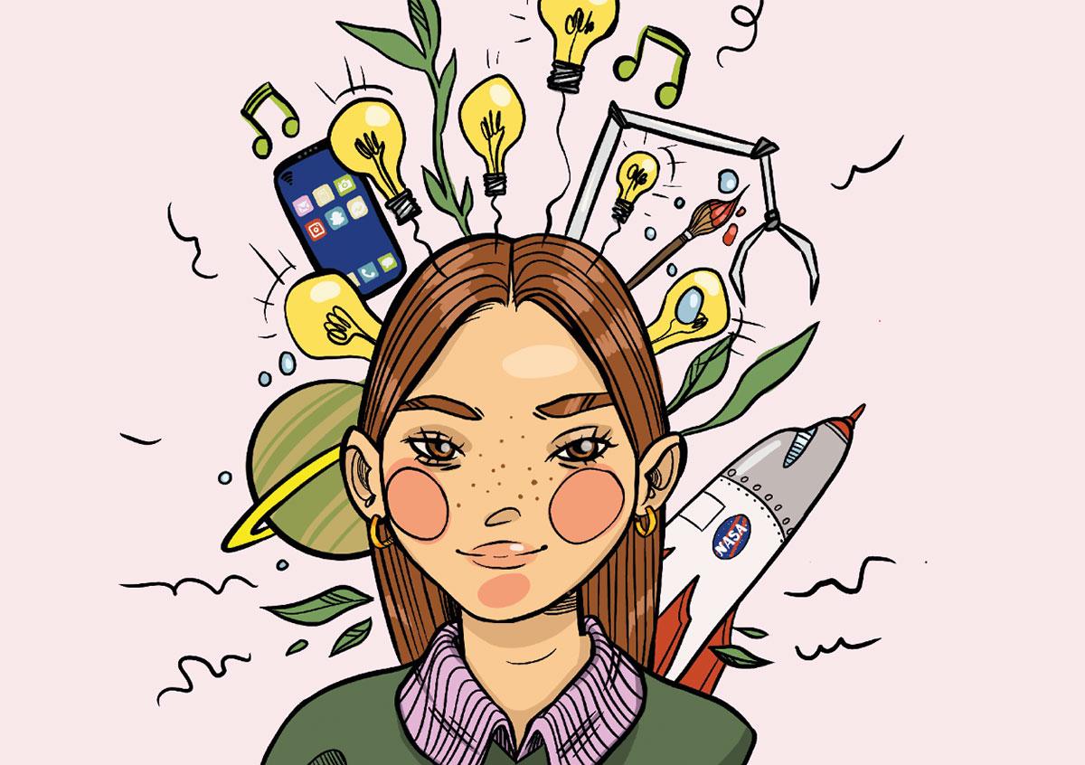 Tegning af en ung pige