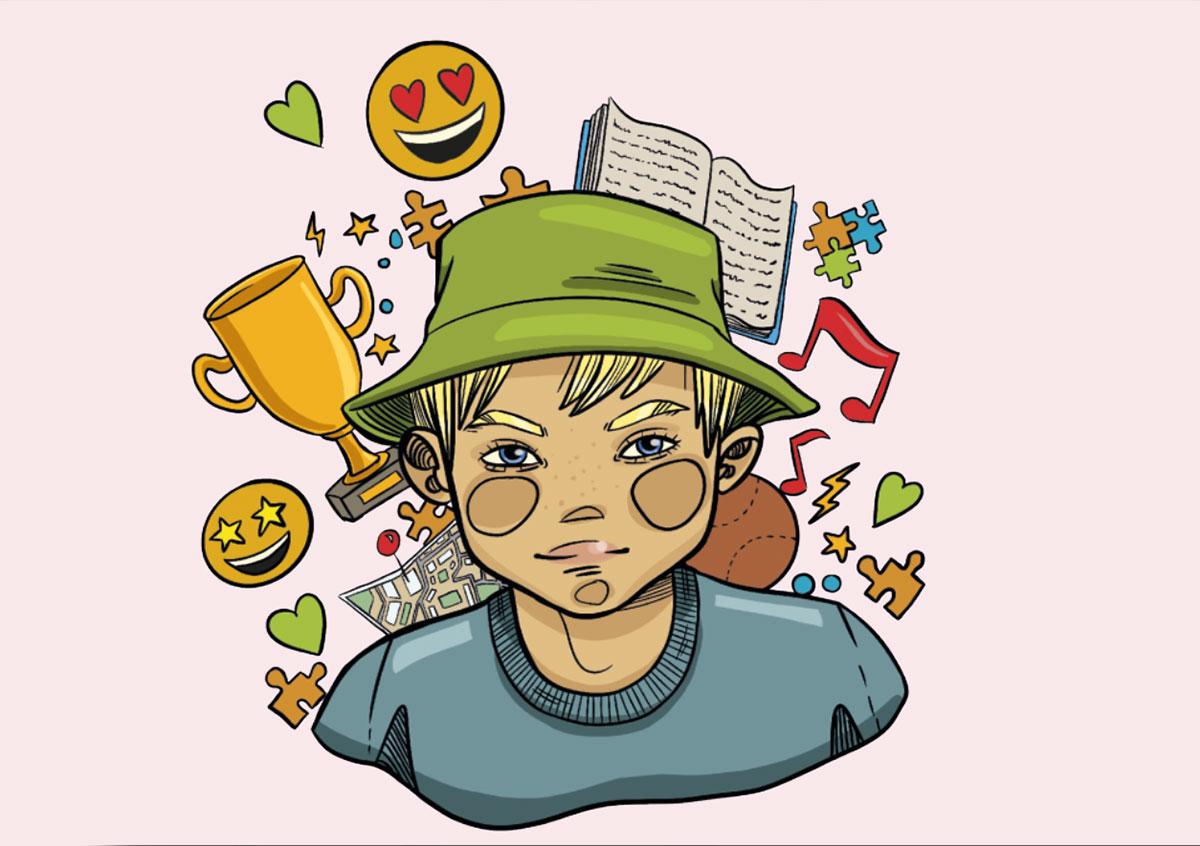 Tegning af en ung dreng